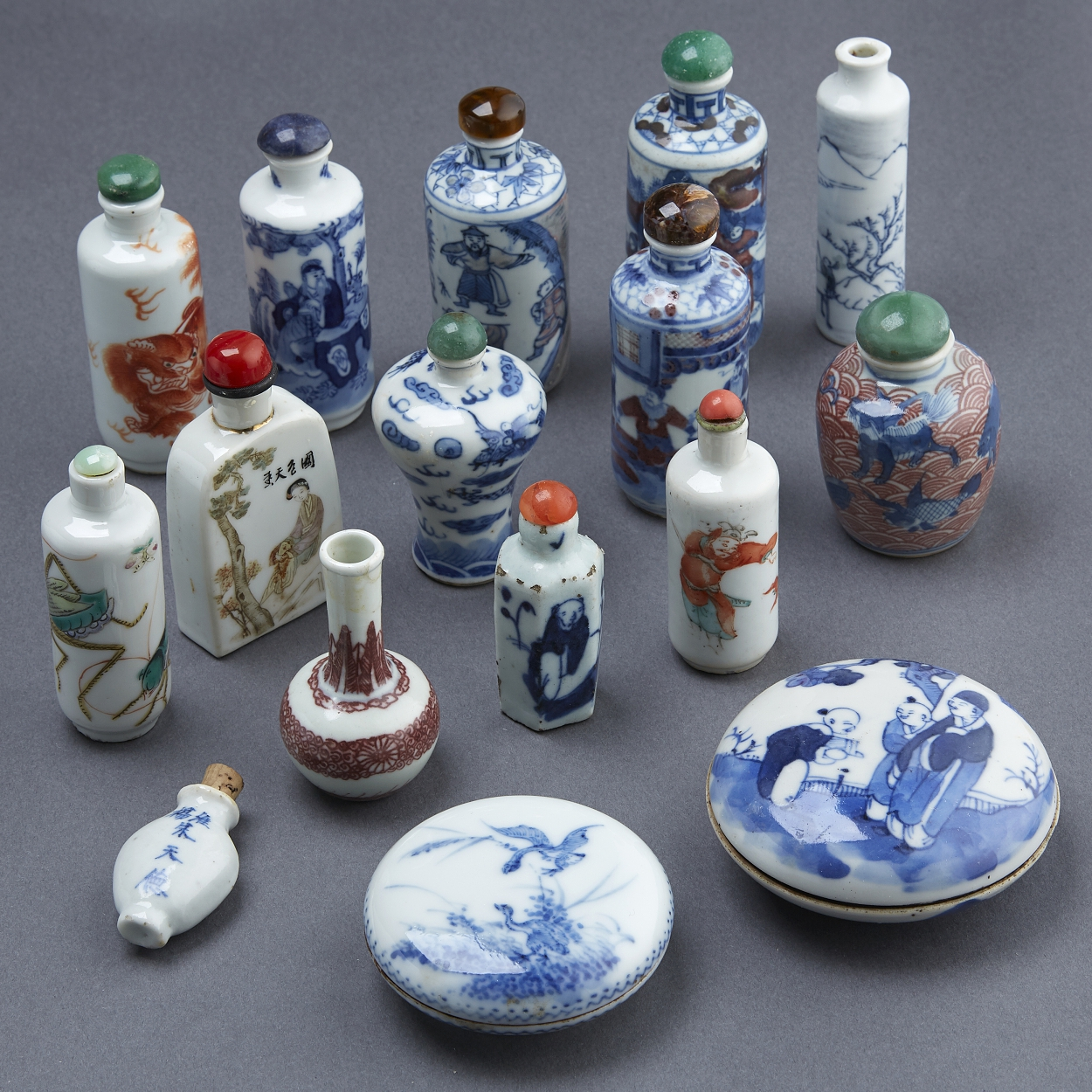 A Group of 14 Snuff Bottles and Two Seal Boxes