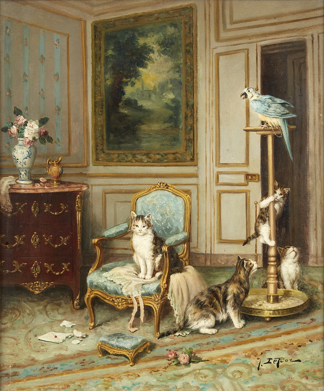 Jules Le Roy, Parrot and cats