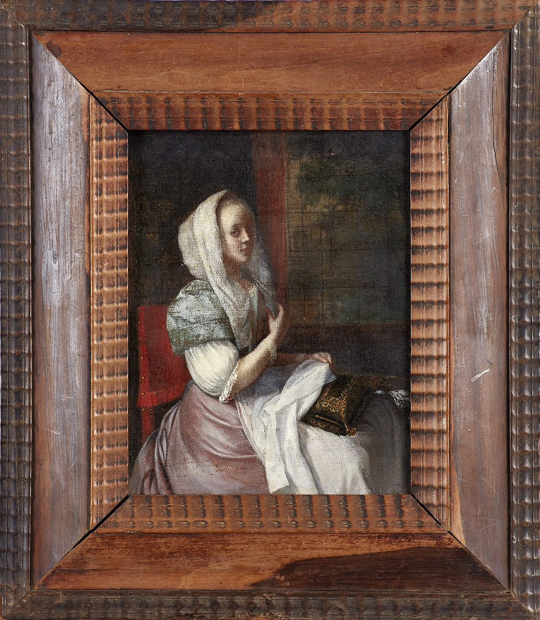 attributed to Jacob Ochtervelt, Lady sewing