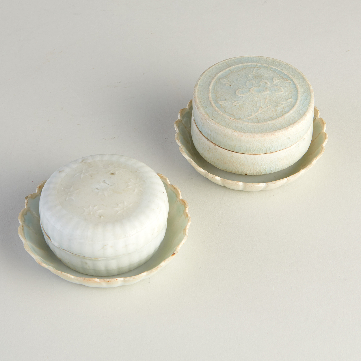 Two Covered Qingbai Boxes and Two Lobed Dishes