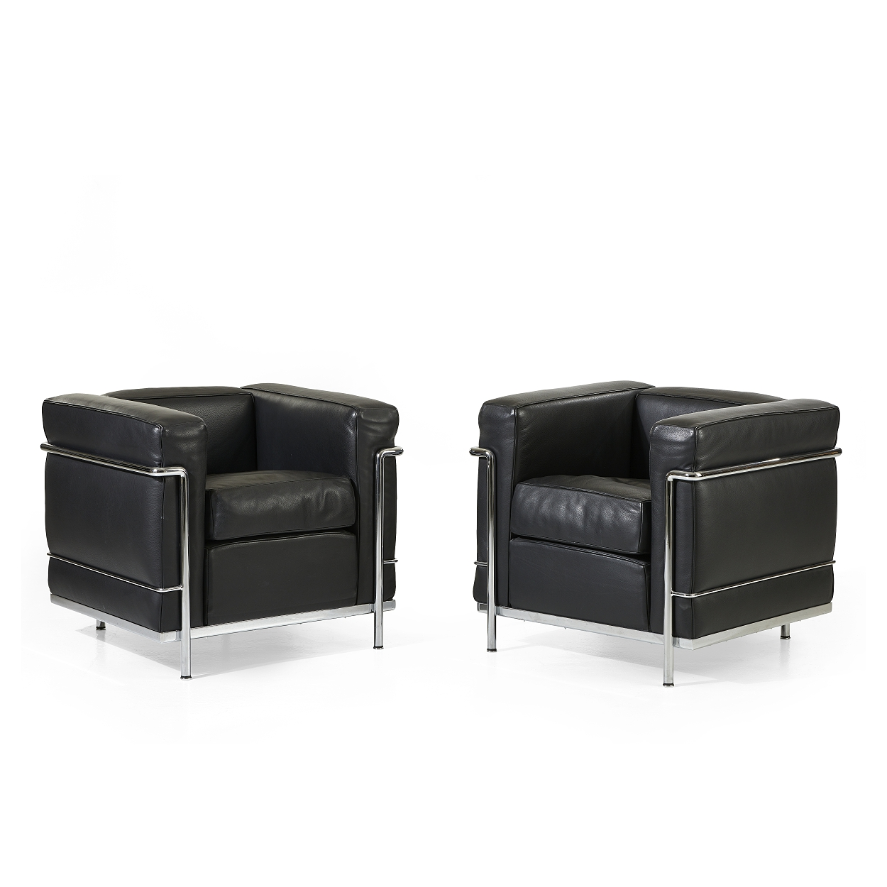 """A pair of """"LC 2"""" Le Corbusier easy chairs, Cassina"""