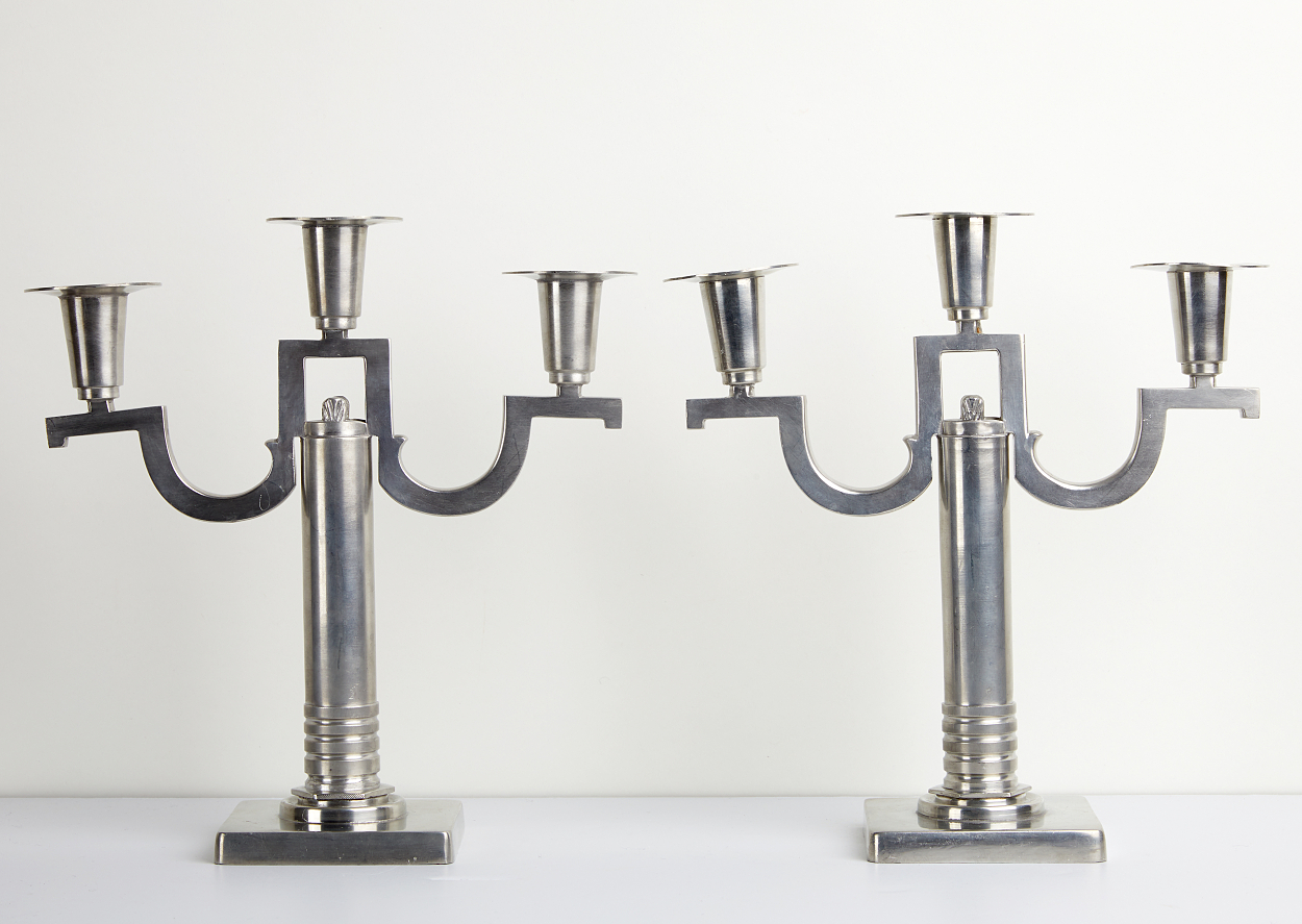 A pair of Guldsmedsaktiebolaget pewter chandeliers