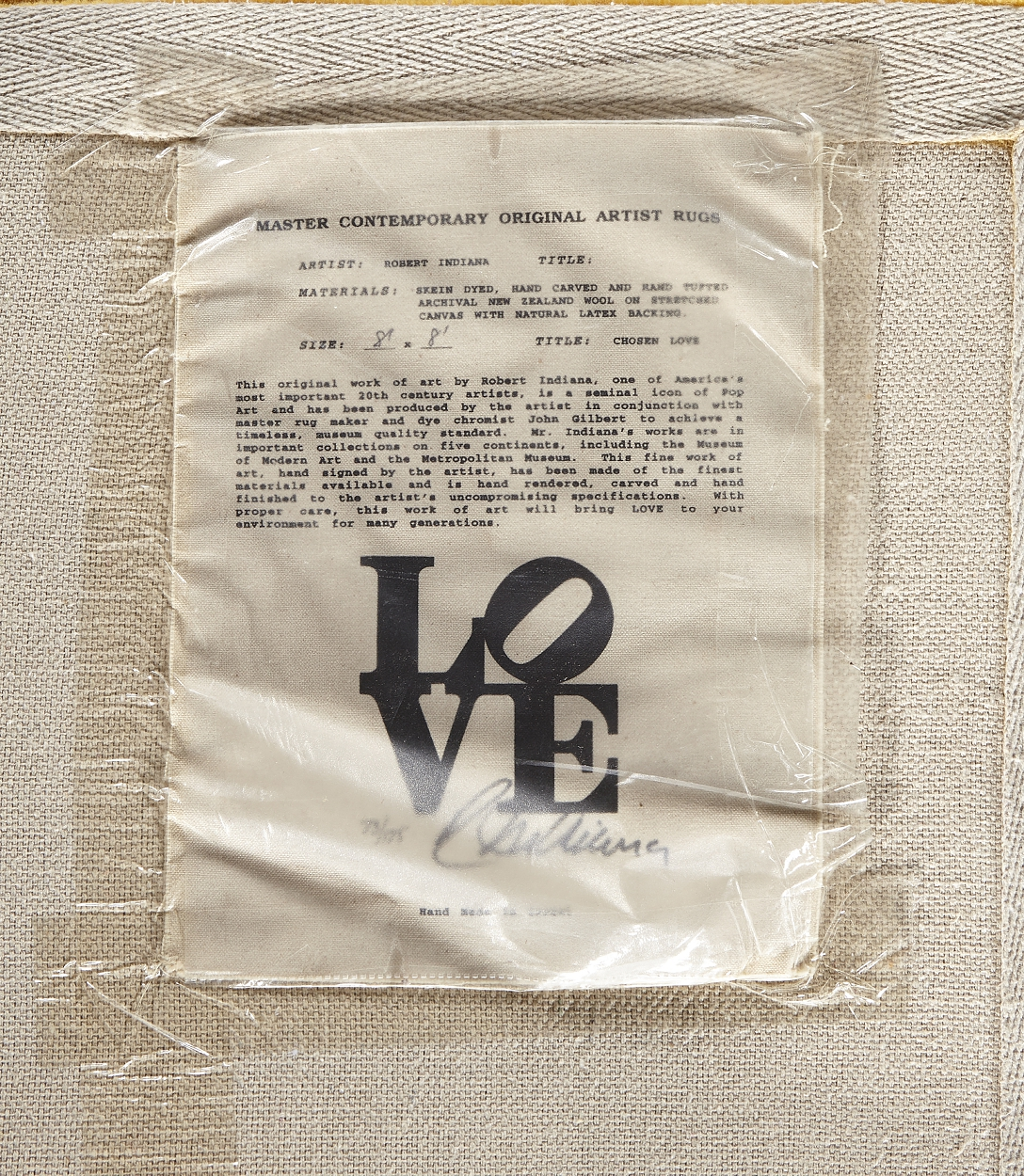 "Robert Indiana, ""Chosen Love"", matta"