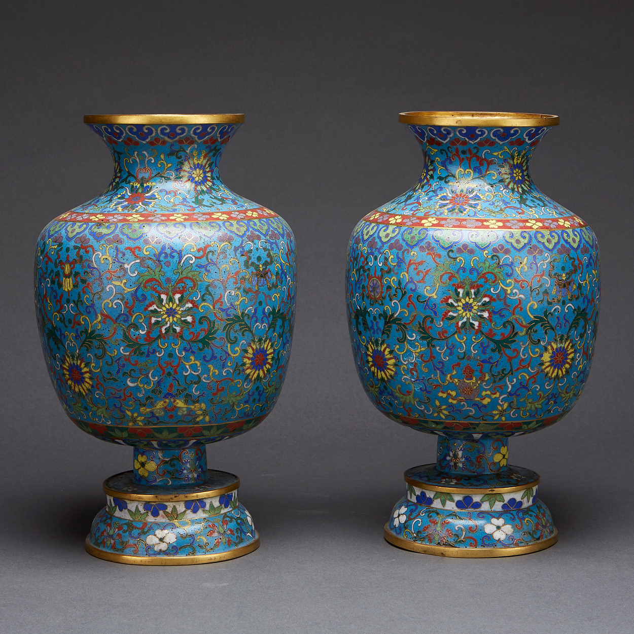 A Pair of Cloisonné and Gilt-Bronze 'Lotus' Vases