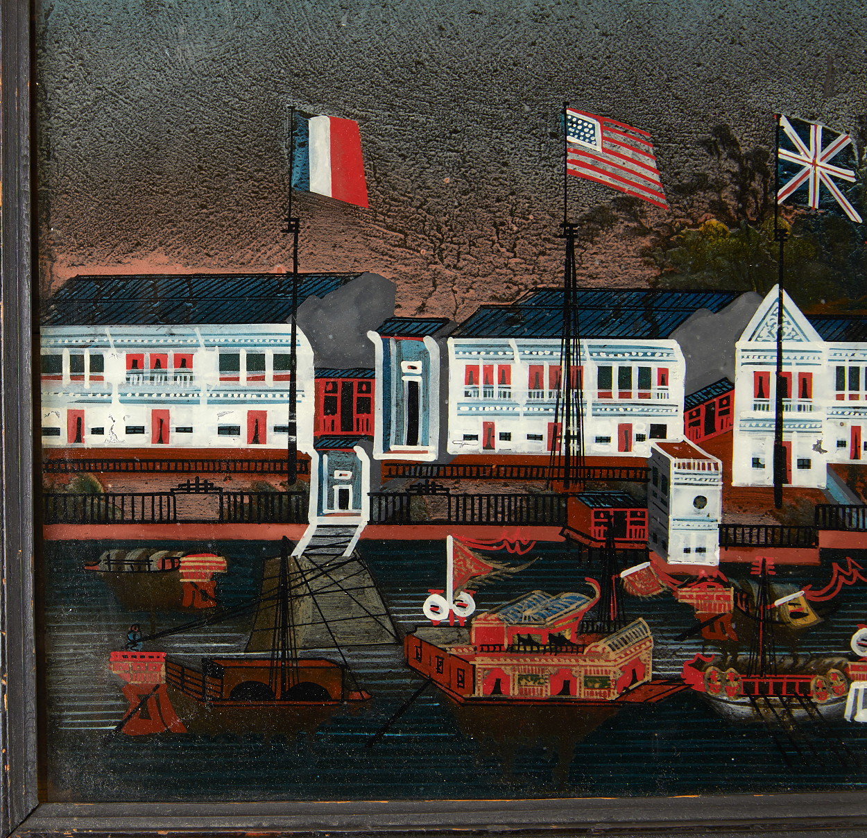 A Reverse Glass Painting of the Hongs in Canton