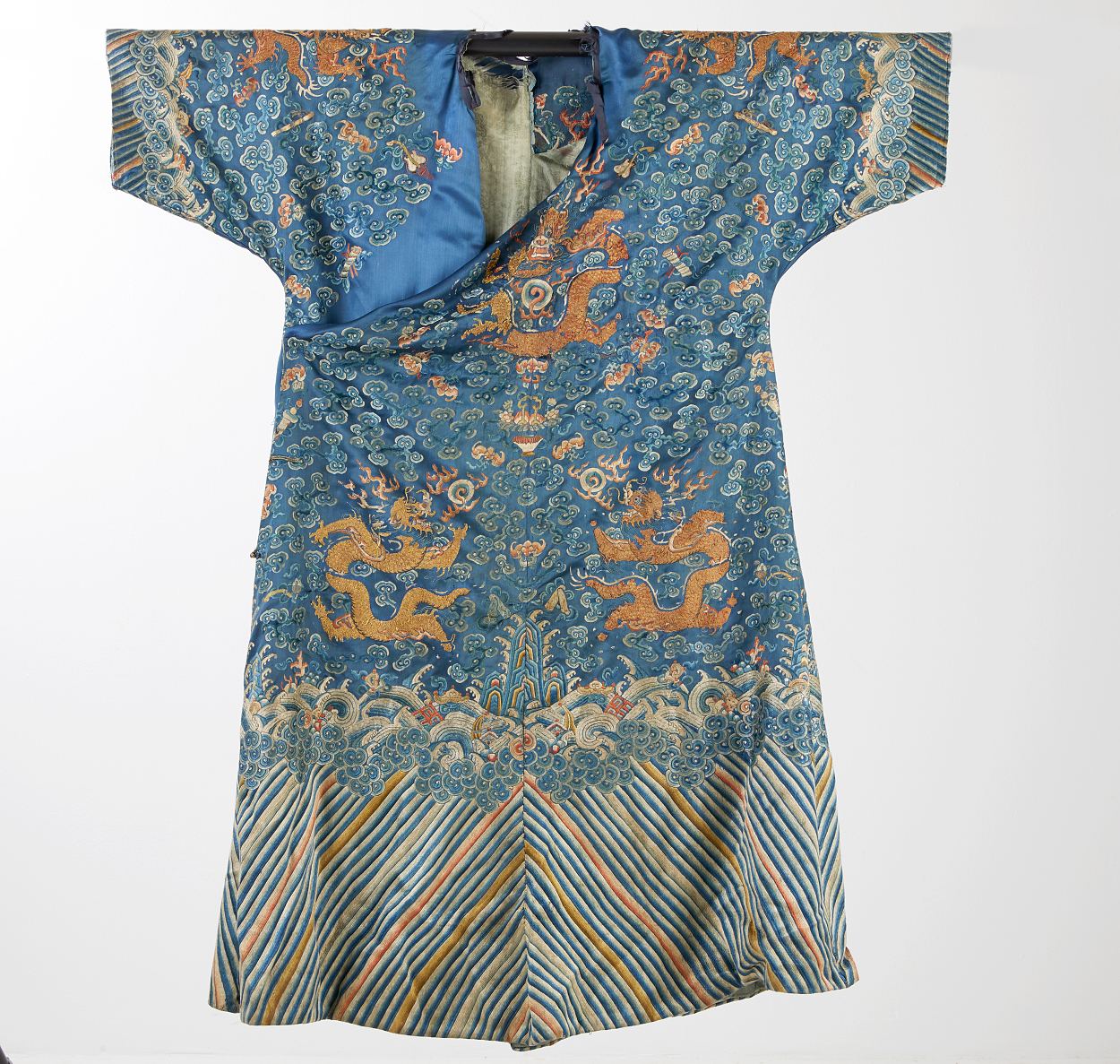 A Blue 'Dragon' Silk Robe