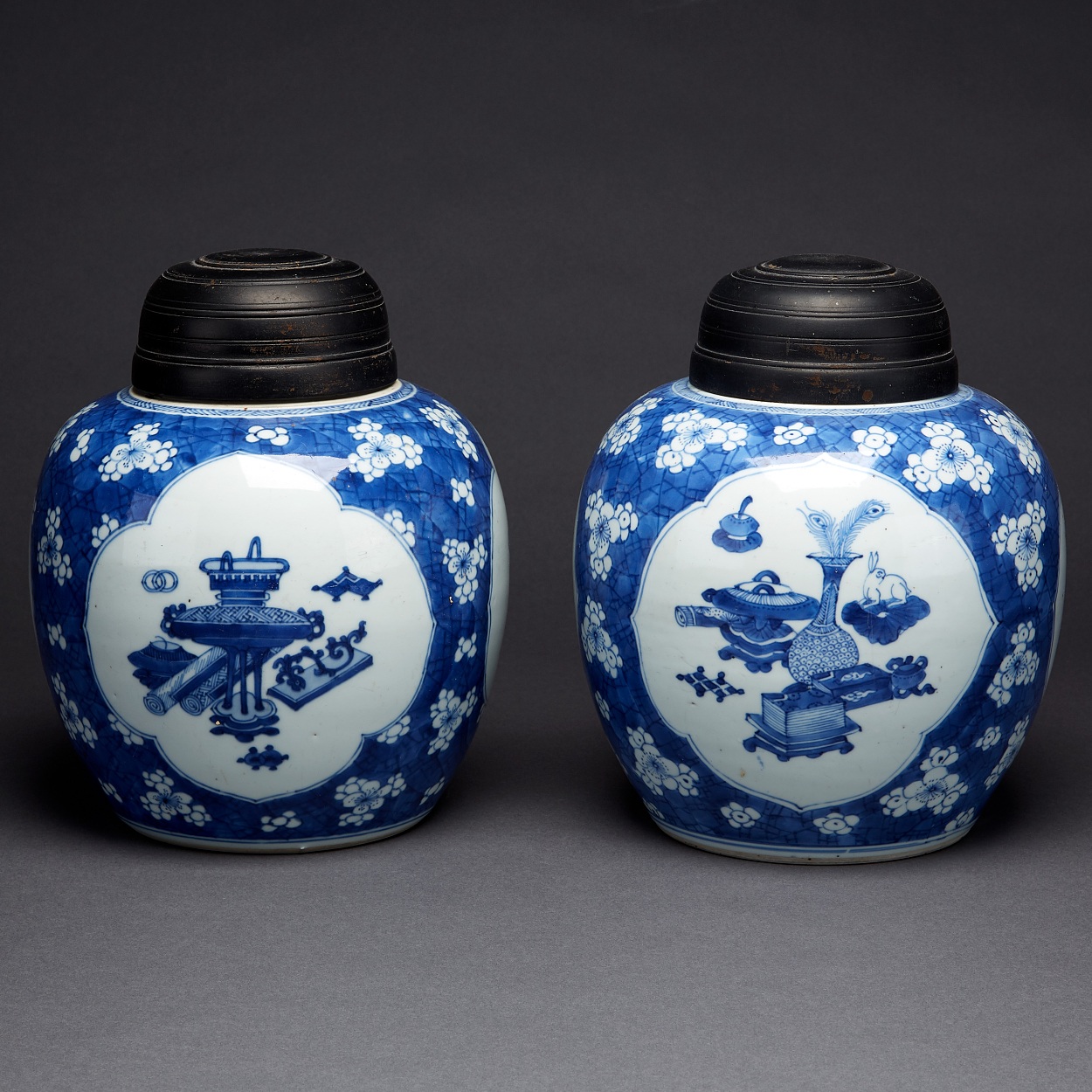A Set of Two Blue and White Jars