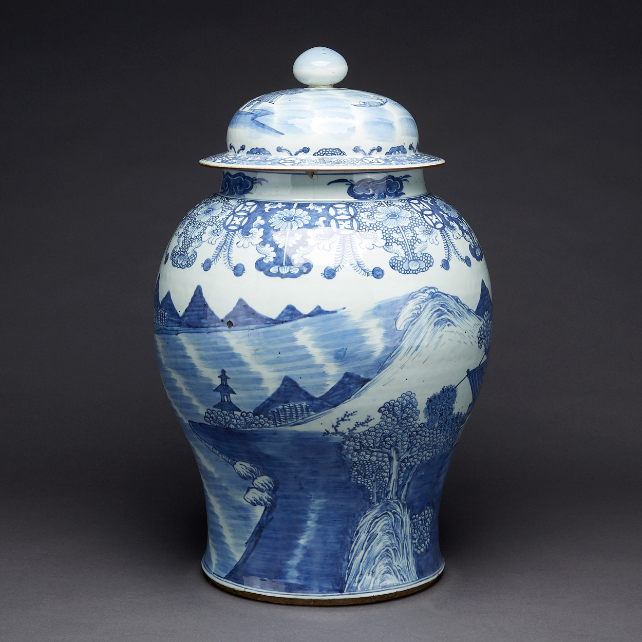 A Large Blue and White Jar with Cover