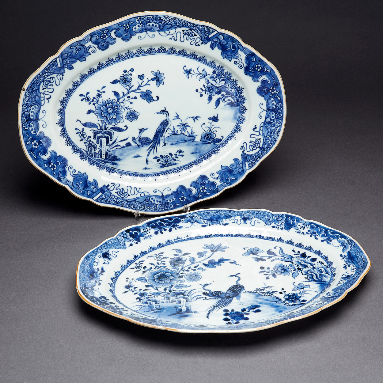 A Pair of Blue and White Ovoid Dishes