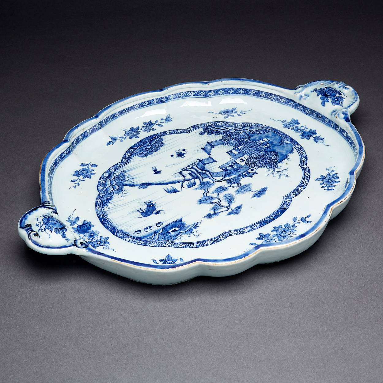 A Blue and White Lobed Oval Tray