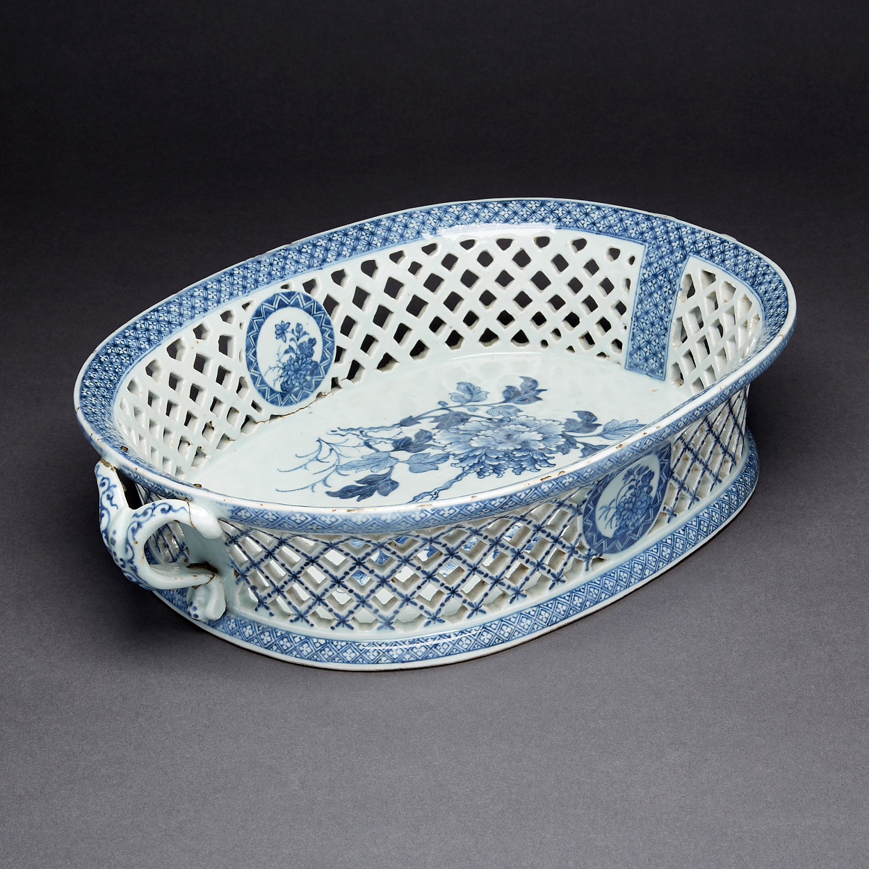 A Blue and White Reticulated Fruit Basket