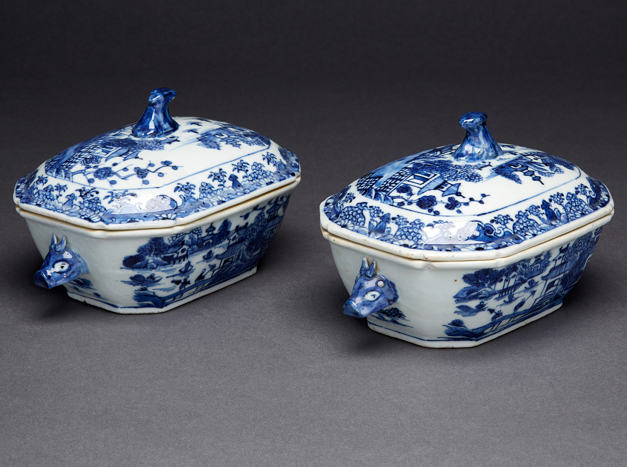 A Pair of Blue and White Butter Tubs