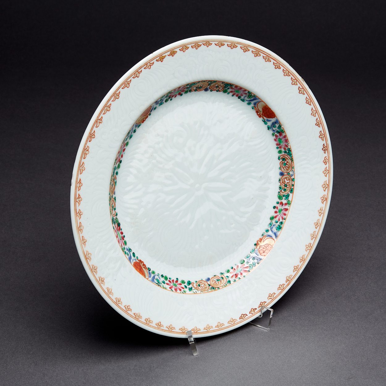 A Set of 15 Famille Rose and Anhua Plates