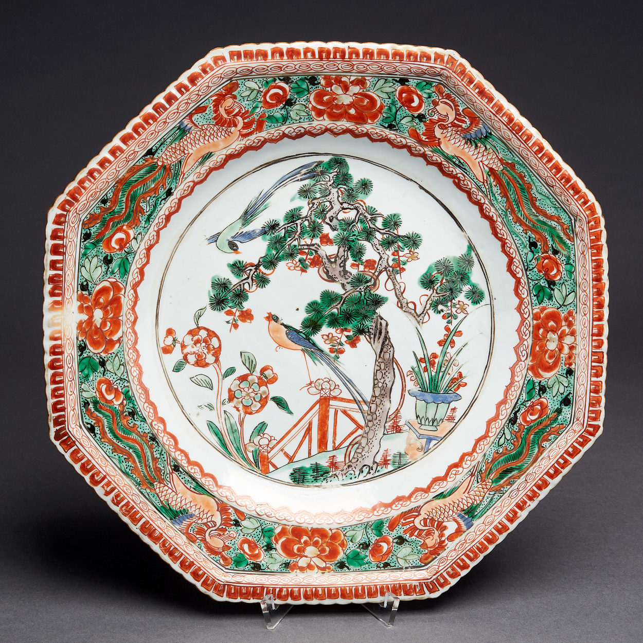 A Pair of Famille Verte Octagonal Dishes