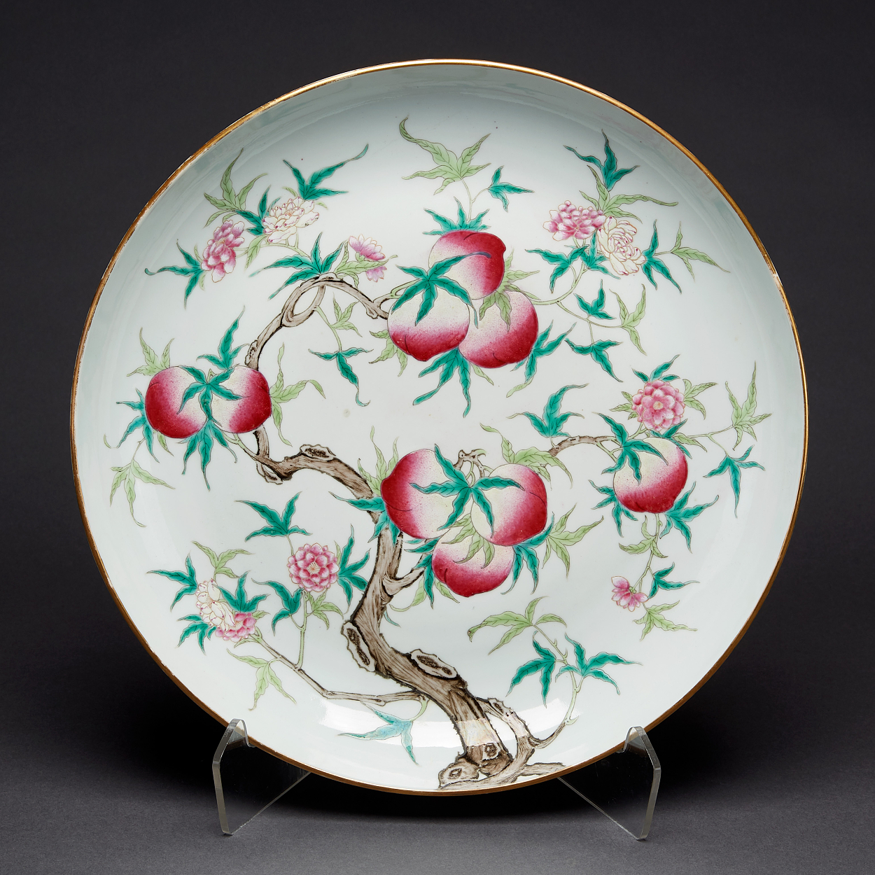 A Famille Rose 'Nine Peaches' Saucer Dish