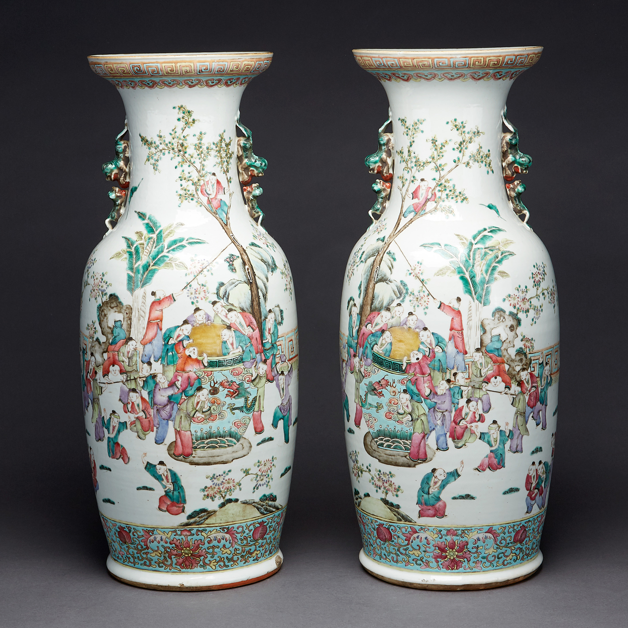 A Pair of Famille Rose 'Hundred Boys' Vases