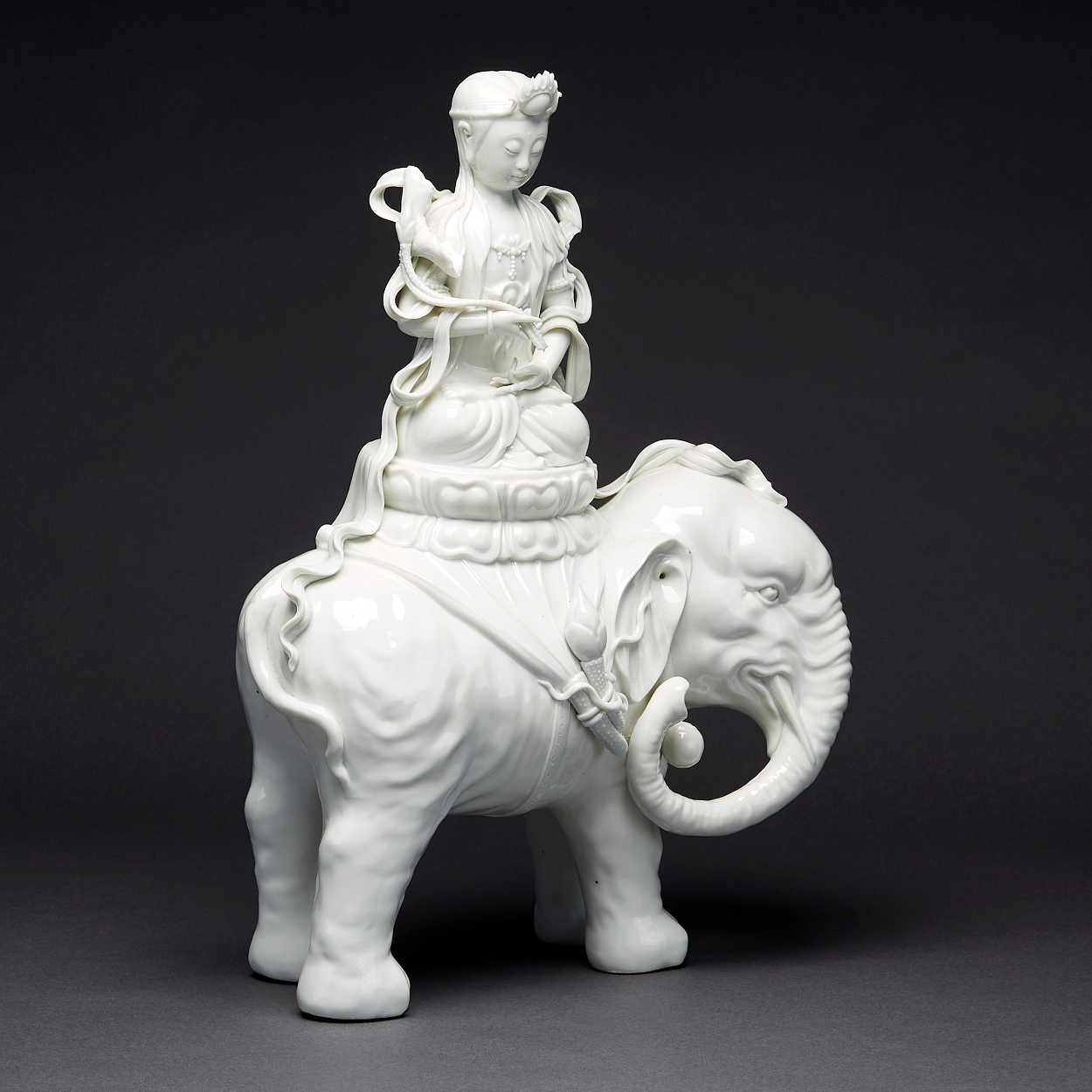 A Blanc-de-Chine Guanyin Riding an Elephant