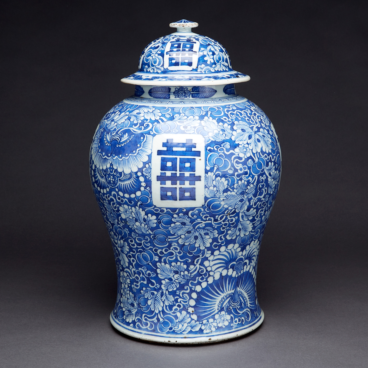 A Blue and White Jar with Cover