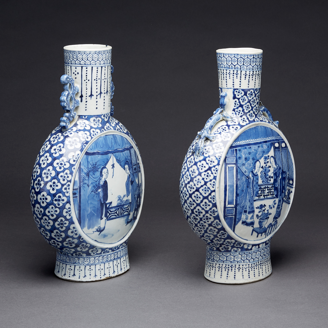 Two Blue and White Moonflasks