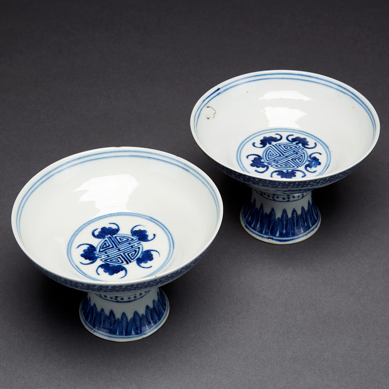 A Pair of Blue and White Stem Bowls