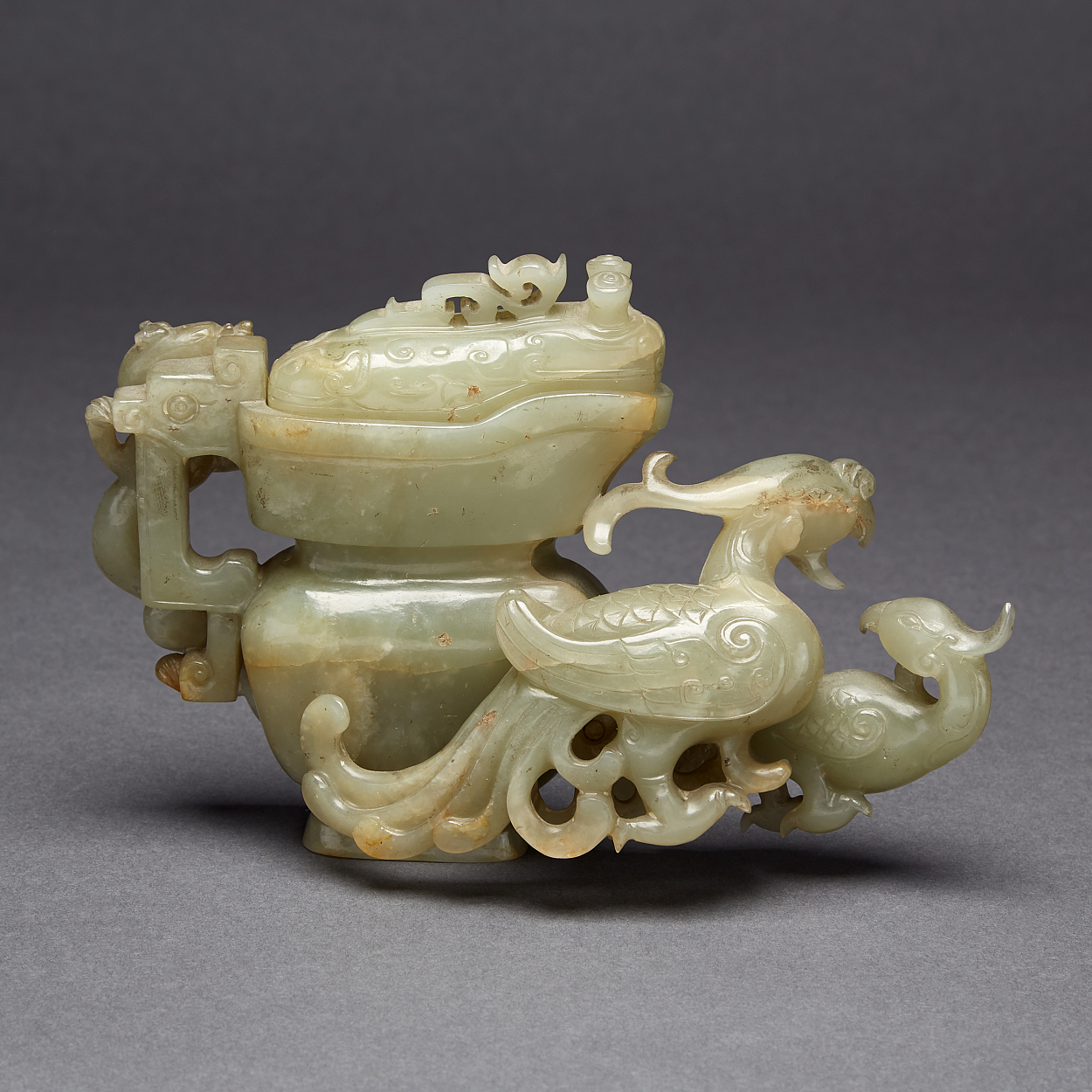 A Nephrite 'Dragon and Phoenix' Libation Cup