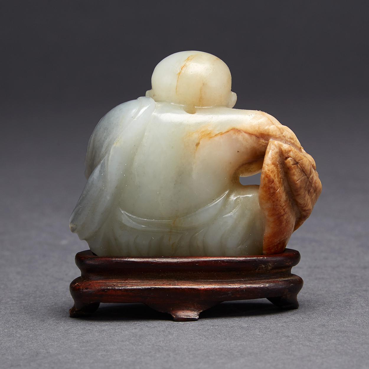 A Pale Green Nephrite 'Boy and Lotus' Group